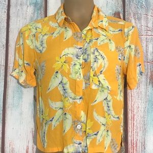 💎 Forever 21 Orange Floral Hawaiian Top Size S